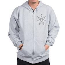 7-Pointed Star Symbol Zip Hoodie