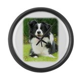 Border Collie 9A014D-14 Large Wall Clock