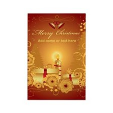 Luxury gold and red Merry Chr Rectangle Magnet