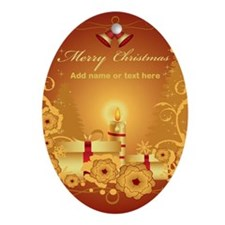 Luxury gold and red Merry Chr Ornament (Oval)