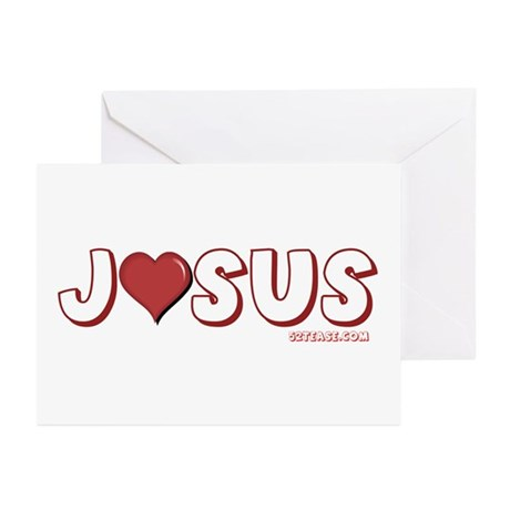 I (Heart) Love Jesus Greeting Cards (Pk of 10)