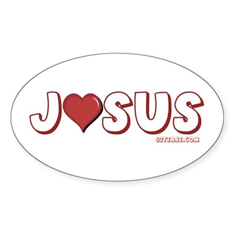 I (Heart) Love Jesus Oval Sticker