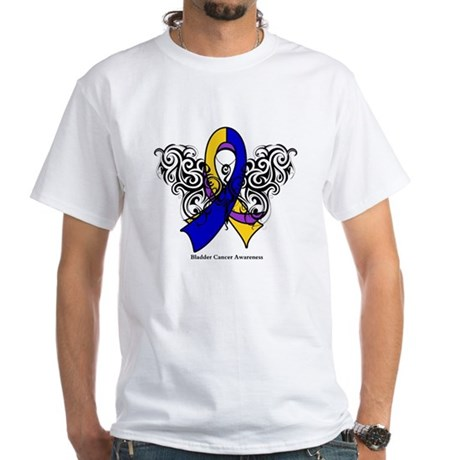 Bladder Cancer Tribal White T-Shirt