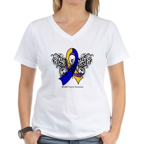 Bladder Cancer Tribal Women's V-Neck T-Shirt