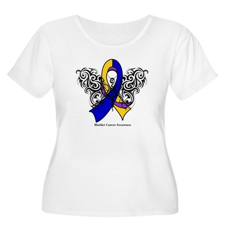Bladder Cancer Tribal Women's Plus Size Scoop Neck