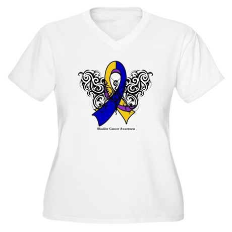Bladder Cancer Tribal Women's Plus Size V-Neck T-S
