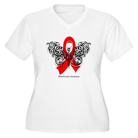 Blood Cancer Tribal Women's Plus Size V-Neck T-Shi
