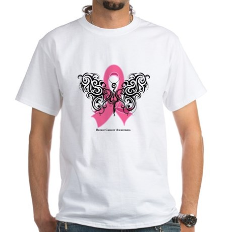 Breast Cancer Tribal White T-Shirt
