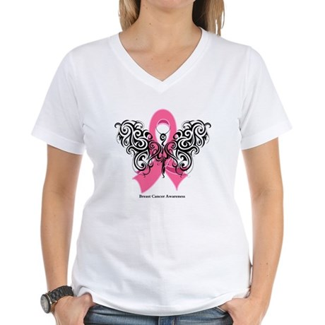Breast Cancer Tribal Women's V-Neck T-Shirt
