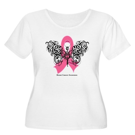 Breast Cancer Tribal Women's Plus Size Scoop Neck