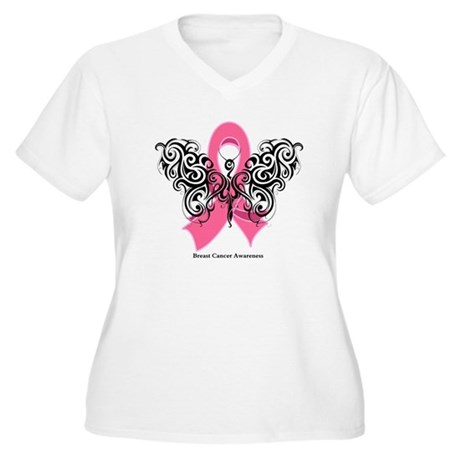 Breast Cancer Tribal Women's Plus Size V-Neck T-Sh
