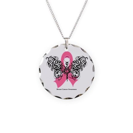Breast Cancer Tribal Necklace Circle Charm