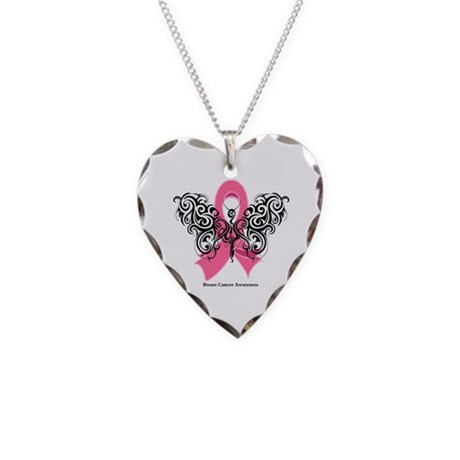 Breast Cancer Tribal Necklace Heart Charm