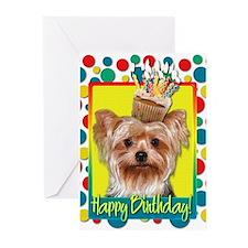 Birthday Cupcake - Yorkie Greeting Cards (Pk of 10