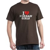 I Love Korean Girls Black T-Shirt