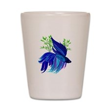 Big Blue Siamese Fighting Fis Shot Glass