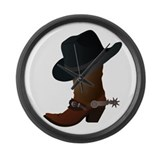 Western Boot & Hat Icon Large Wall Clock