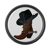 Western Boot &amp; Hat Icon Large Wall Clock