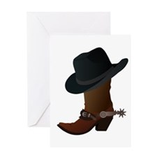 Western Boot & Hat Icon Greeting Card