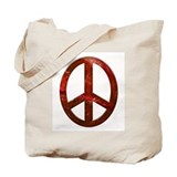 Red Sculpted Stone Peace Symbol Tote Bag