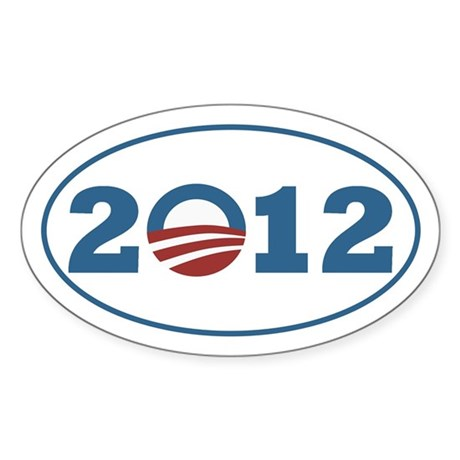 Barack Obama O inside 2012 for a 2O12 Oval Bumper Sticker with the old faithful stars and stripes
