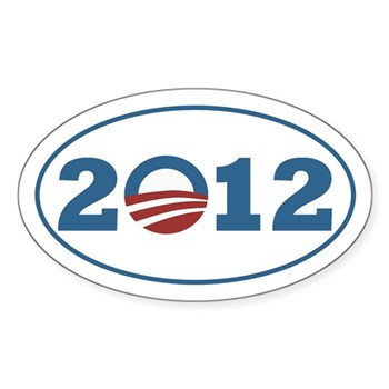 Barack Obama Bumper Sticker in Oval Shape with 2012 featuring the O icon of a rising sun, in patriotic red white and blue