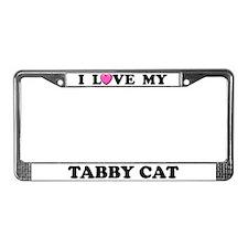 I Love My Tabby Cat License Plate Frame