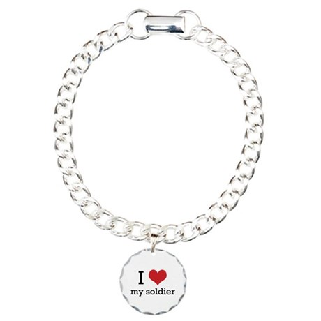 I heart my soldier Charm Bracelet, One Charm