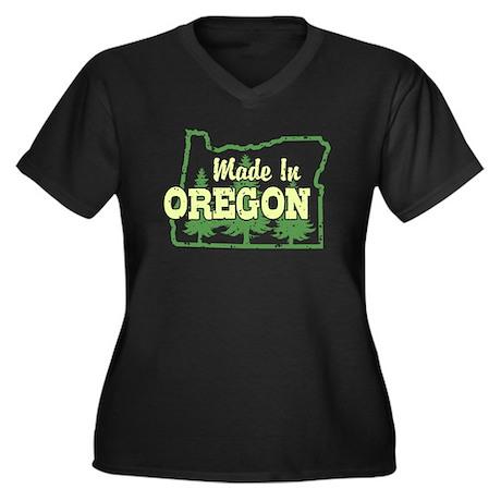 Made In Oregon Women's Plus Size V-Neck Dark T-Shi