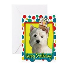 Birthday Cupcake - Westie Greeting Cards (Pk of 20