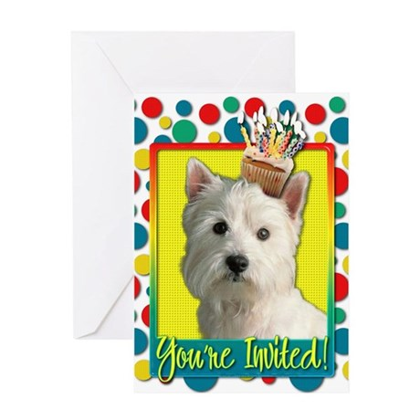 Invitation Cupcake Westie Greeting Card