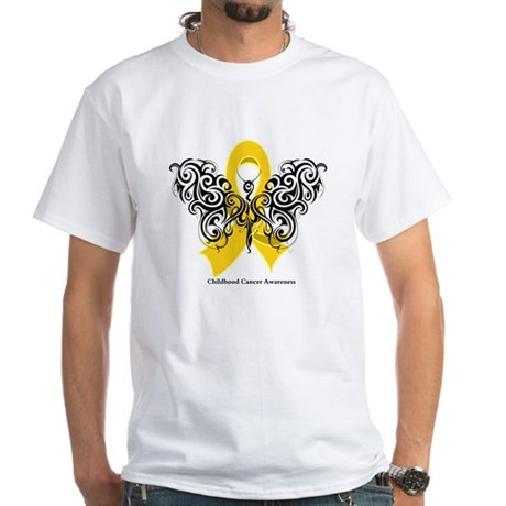 Childhood Cancer Tribal White T-Shirt