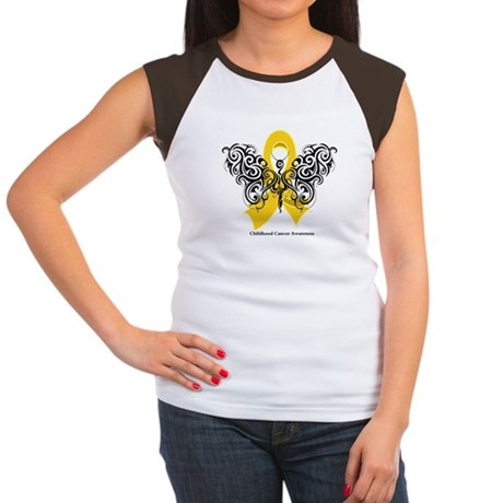 Childhood Cancer Tribal Women's Cap Sleeve T-Shirt