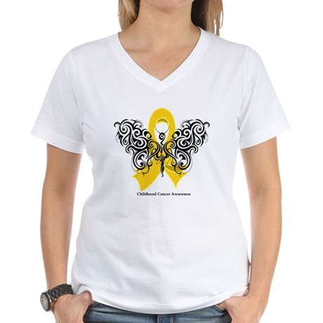 Childhood Cancer Tribal Women's V-Neck T-Shirt