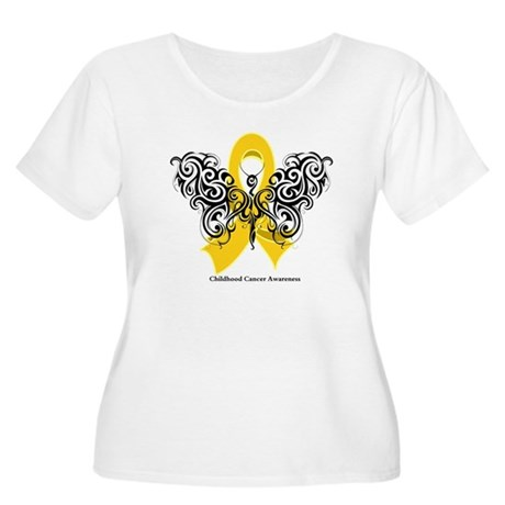 Childhood Cancer Tribal Women's Plus Size Scoop Ne