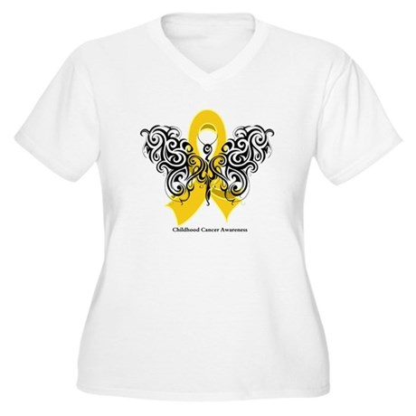 Childhood Cancer Tribal Women's Plus Size V-Neck T