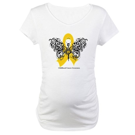 Childhood Cancer Tribal Maternity T-Shirt