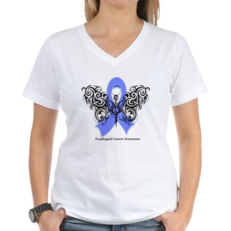 Esophageal Cancer Tribal Women's V-Neck T-Shirt