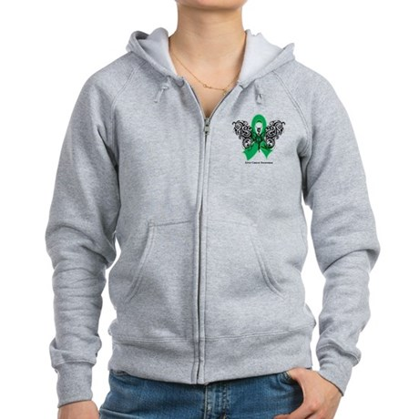 Liver Cancer Tribal Butterfly Women's Zip Hoodie