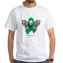 Liver Cancer Tribal Butterfly White T-Shirt