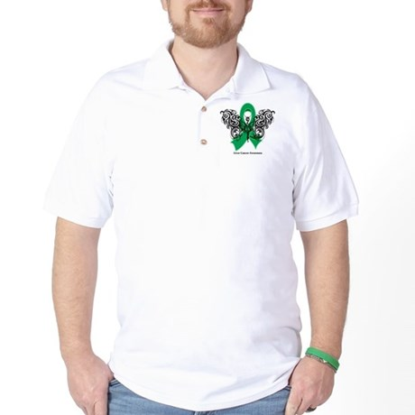 Liver Cancer Tribal Butterfly Golf Shirt