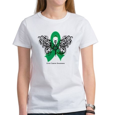 Liver Cancer Tribal Butterfly Women's T-Shirt