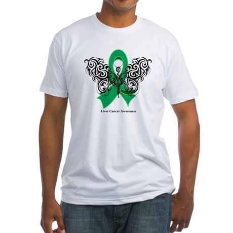 Liver Cancer Tribal Butterfly Fitted T-Shirt