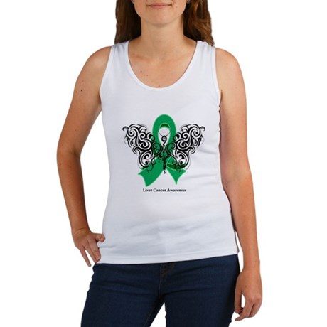Liver Cancer Tribal Butterfly Women's Tank Top