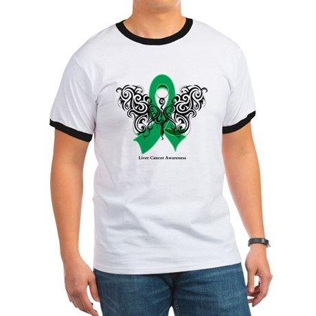 Liver Cancer Tribal Butterfly Ringer T