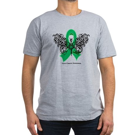 Liver Cancer Tribal Butterfly Men's Fitted T-Shirt