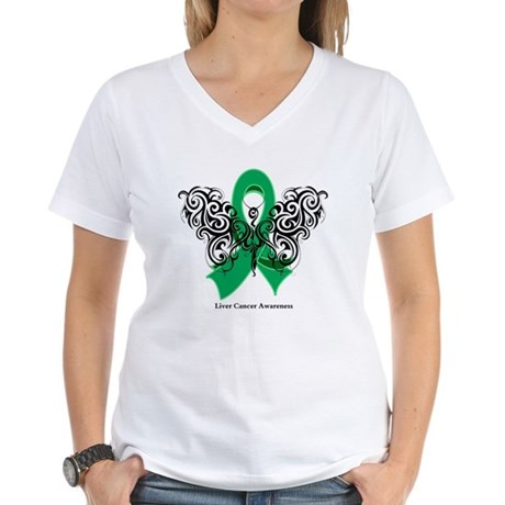 Liver Cancer Tribal Butterfly Women's V-Neck T-Shi