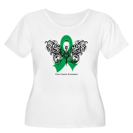 Liver Cancer Tribal Butterfly Women's Plus Size Sc