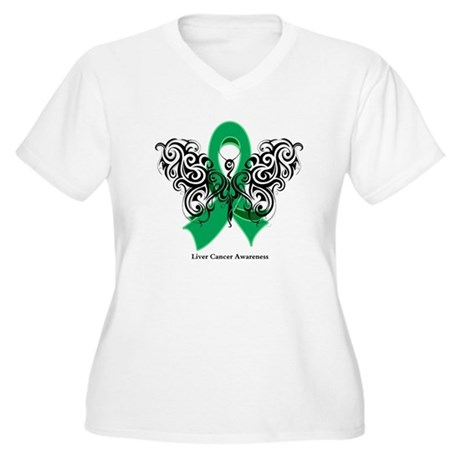 Liver Cancer Tribal Butterfly Women's Plus Size V-