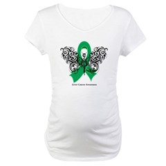 Liver Cancer Tribal Butterfly Maternity T-Shirt